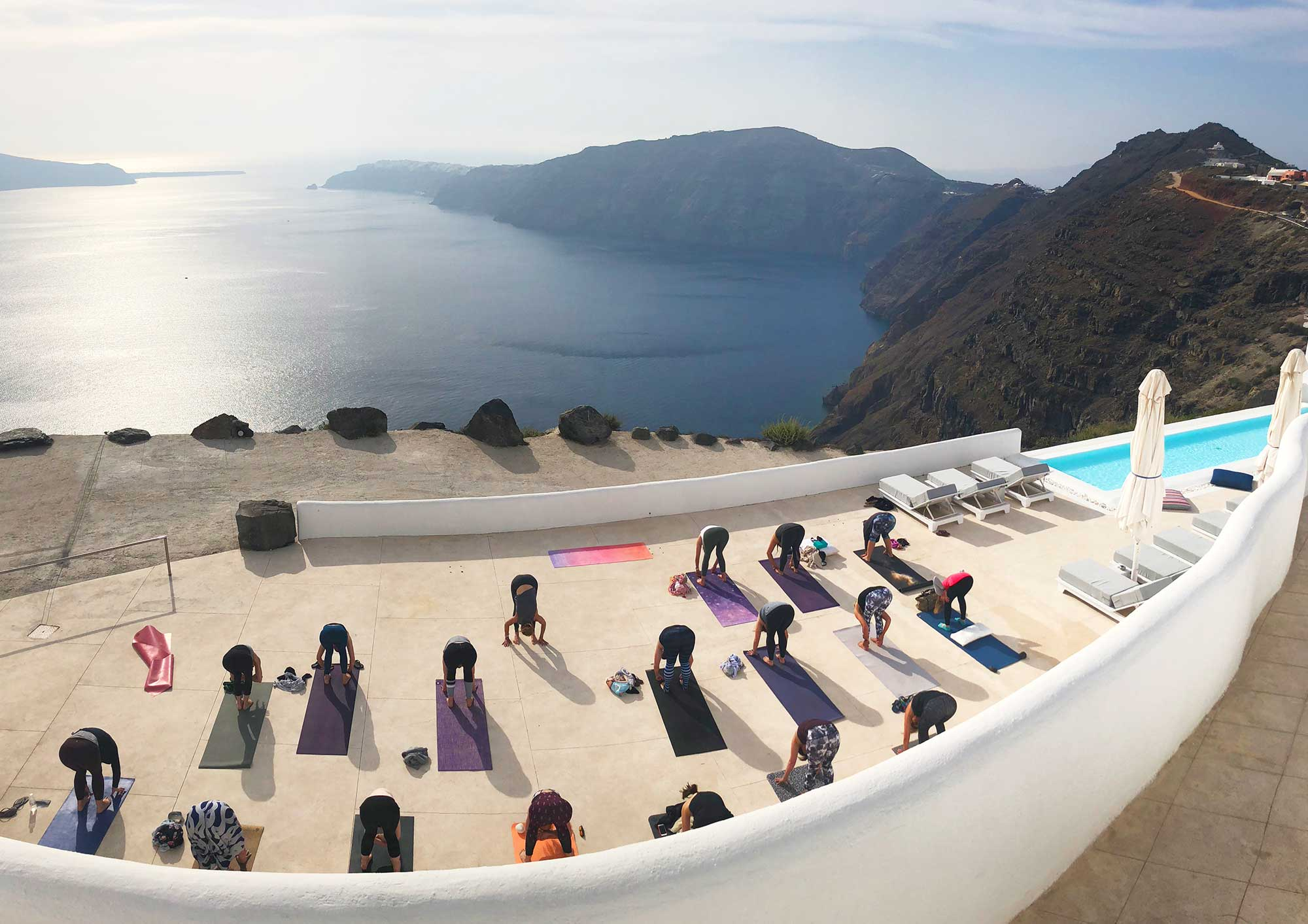 Santorini Whole Self Retreat 2018 - yoga practice with a view