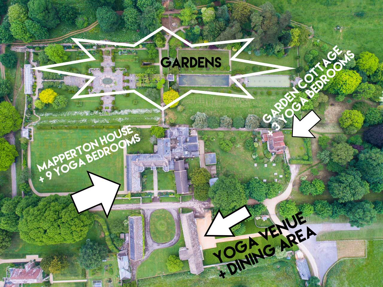 Mapperton yoga retreat map